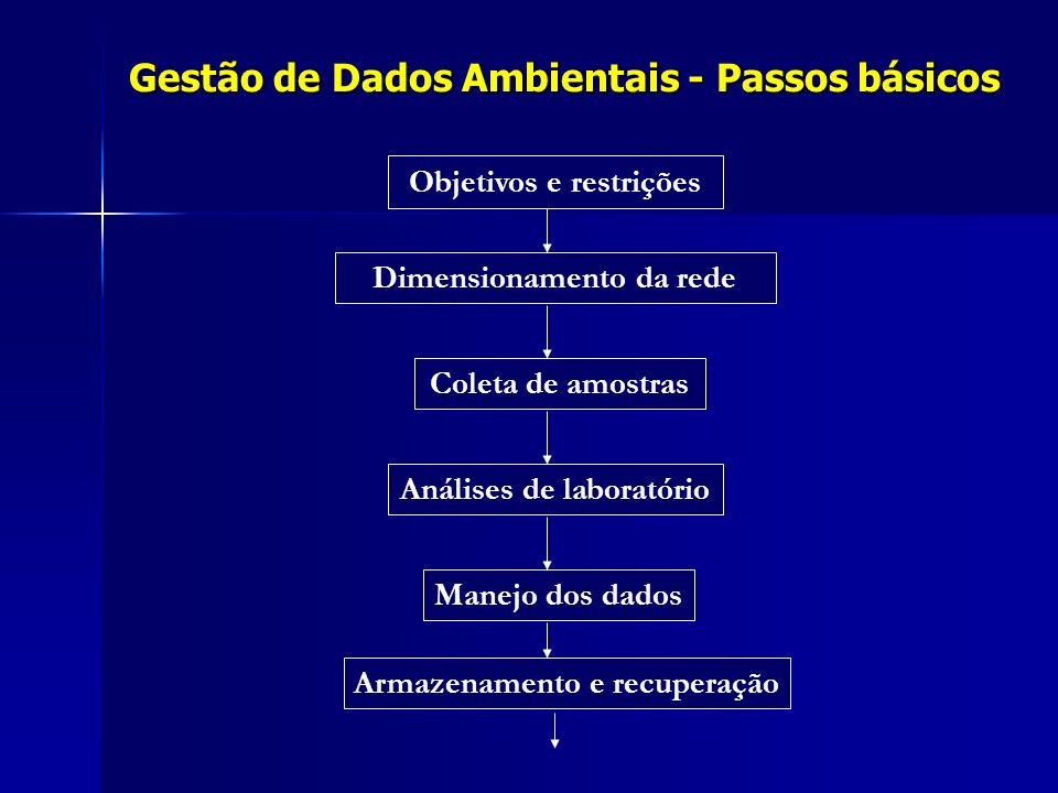 Gestão de Dados Ambientais - Passos básicos Objetivos e restrições Dimensionamento da rede Coleta de amostras Análises de laboratório Manejo dos dados