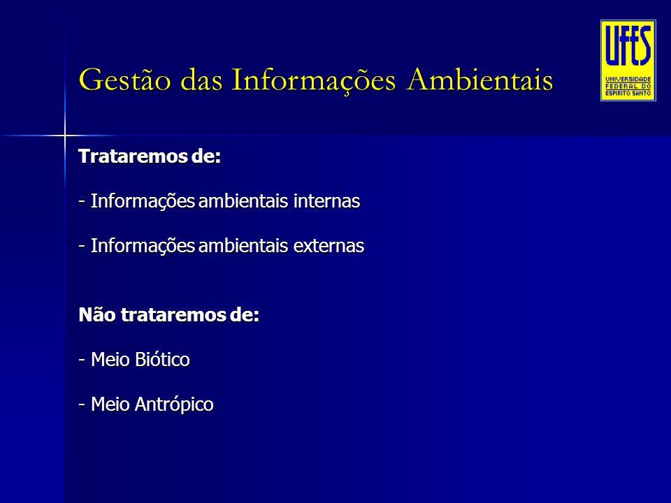 Gestão das Informações Ambientais Trataremos de: - Informações ambientais internas - Informações ambientais externas Não trataremos de: - Meio Biótico