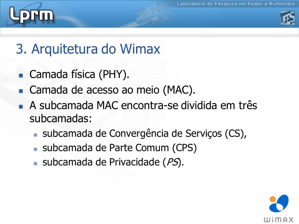 3. Arquitetura do Wimax Camada física (PHY). Camada de acesso ao meio (MAC). A subcamada MAC encontra-se dividida em três subcamadas: subcamada de Con