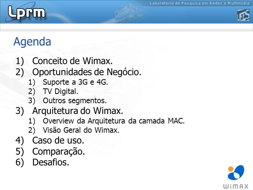 Agenda 1)Conceito de Wimax. 2)Oportunidades de Negócio. 1)Suporte a 3G e 4G. 2)TV Digital. 3)Outros segmentos. 3)Arquitetura do Wimax. 1)Overview da A