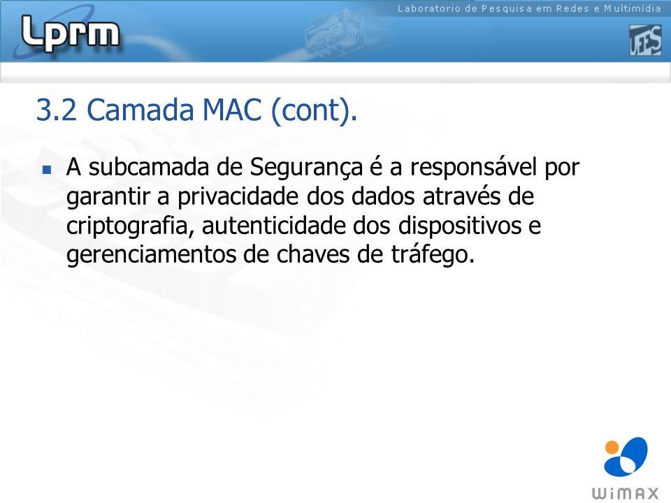 3.2 Camada MAC (cont). A subcamada de Segurança é a responsável por garantir a privacidade dos dados através de criptografia, autenticidade dos dispos
