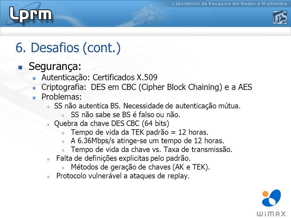 6. Desafios (cont.) Segurança: Autenticação: Certificados X.509 Criptografia: DES em CBC (Cipher Block Chaining) e a AES Problemas: SS não autentica B