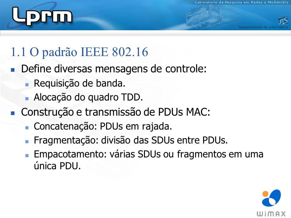 1.1 O padrão IEEE 802.16 Define diversas mensagens de controle: Requisição de banda. Alocação do quadro TDD. Construção e transmissão de PDUs MAC: Con