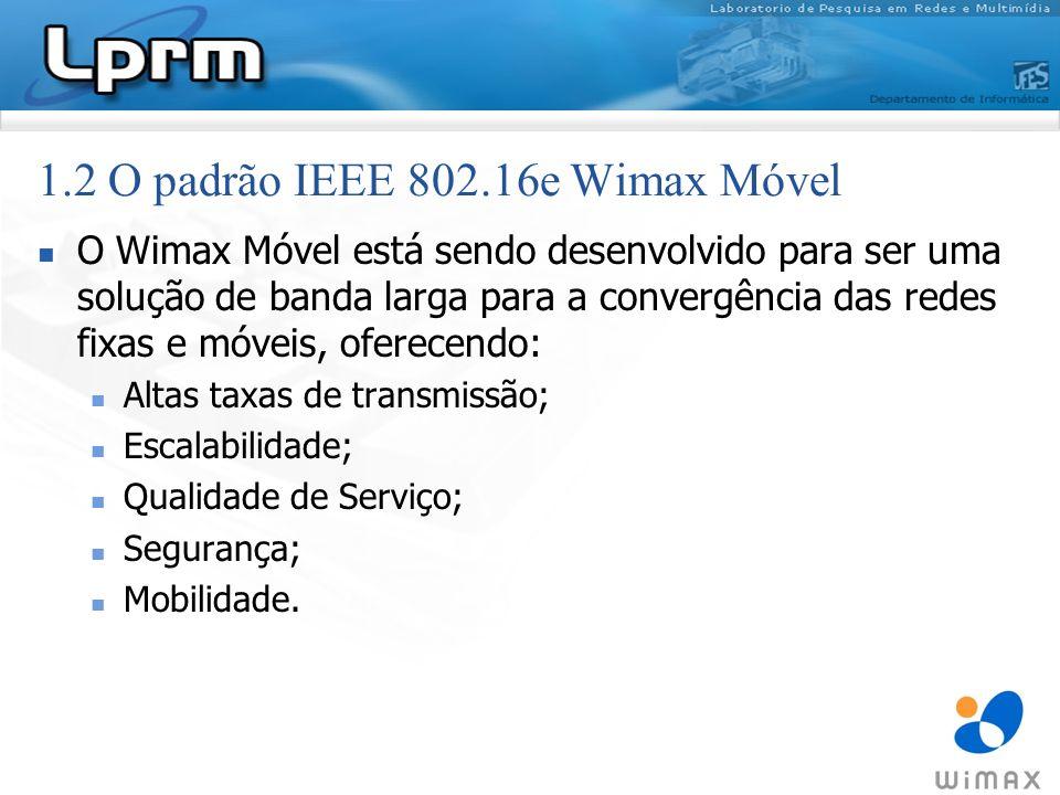 Tem como principais características técnicas: Uso OFDMA; MIMO (Multiple Input Multiple Output); Tamanho de canal escalável; Escalonamento seletivo de freqüência; 1.2 O padrão IEEE 802.16e Wimax Móvel