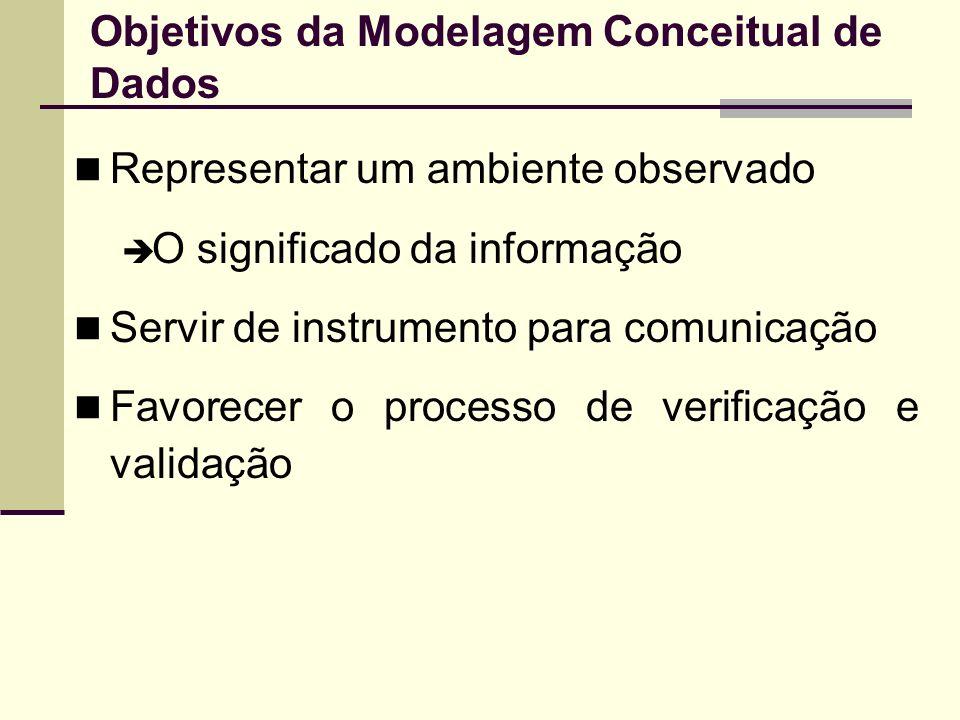 Objetivos da Modelagem Conceitual de Dados Representar um ambiente observado O significado da informação Servir de instrumento para comunicação Favore