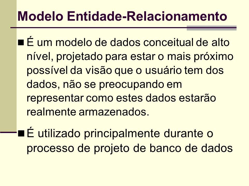 Modelo Entidade-Relacionamento É um modelo de dados conceitual de alto nível, projetado para estar o mais próximo possível da visão que o usuário tem