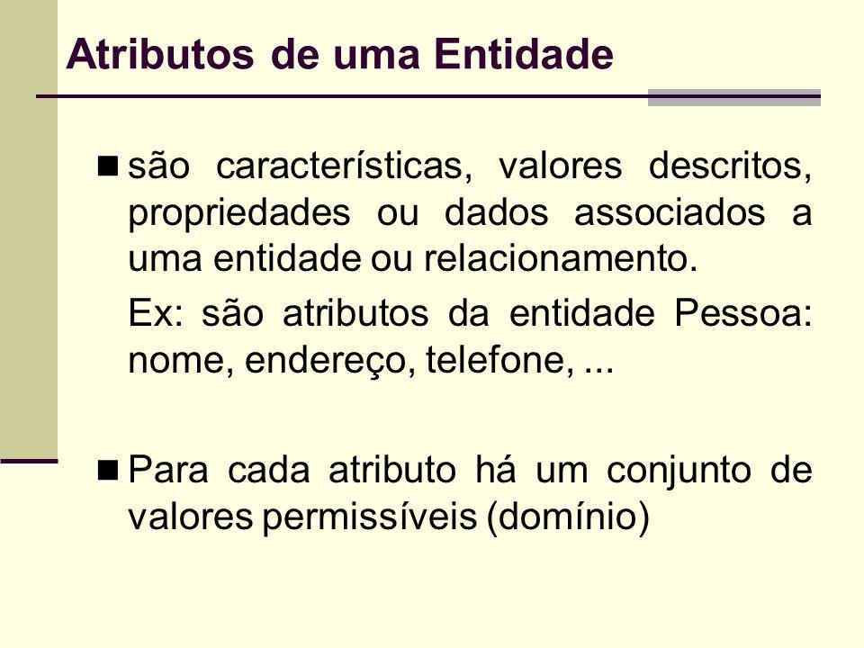 Atributos de uma Entidade são características, valores descritos, propriedades ou dados associados a uma entidade ou relacionamento. Ex: são atributos