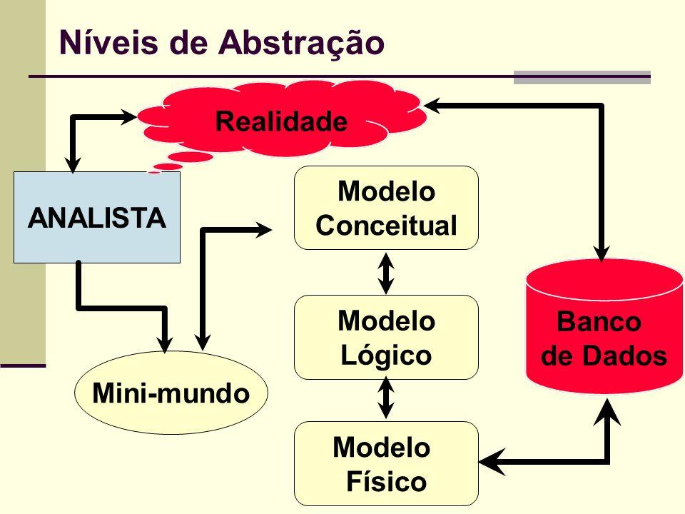ANALISTA Mini-mundo Modelo Lógico Modelo Físico Modelo Conceitual Banco de Dados Realidade Níveis de Abstração