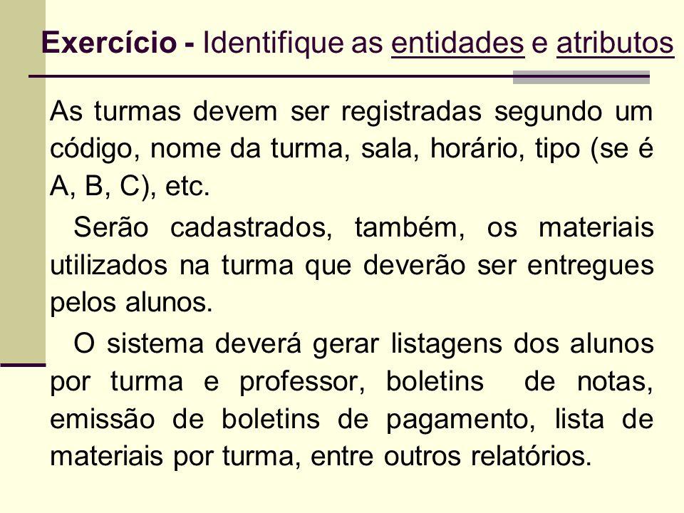 Exercício - Identifique as entidades e atributos As turmas devem ser registradas segundo um código, nome da turma, sala, horário, tipo (se é A, B, C),