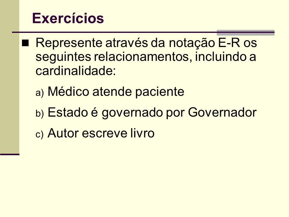 Exercícios Represente através da notação E-R os seguintes relacionamentos, incluindo a cardinalidade: a) Médico atende paciente b) Estado é governado