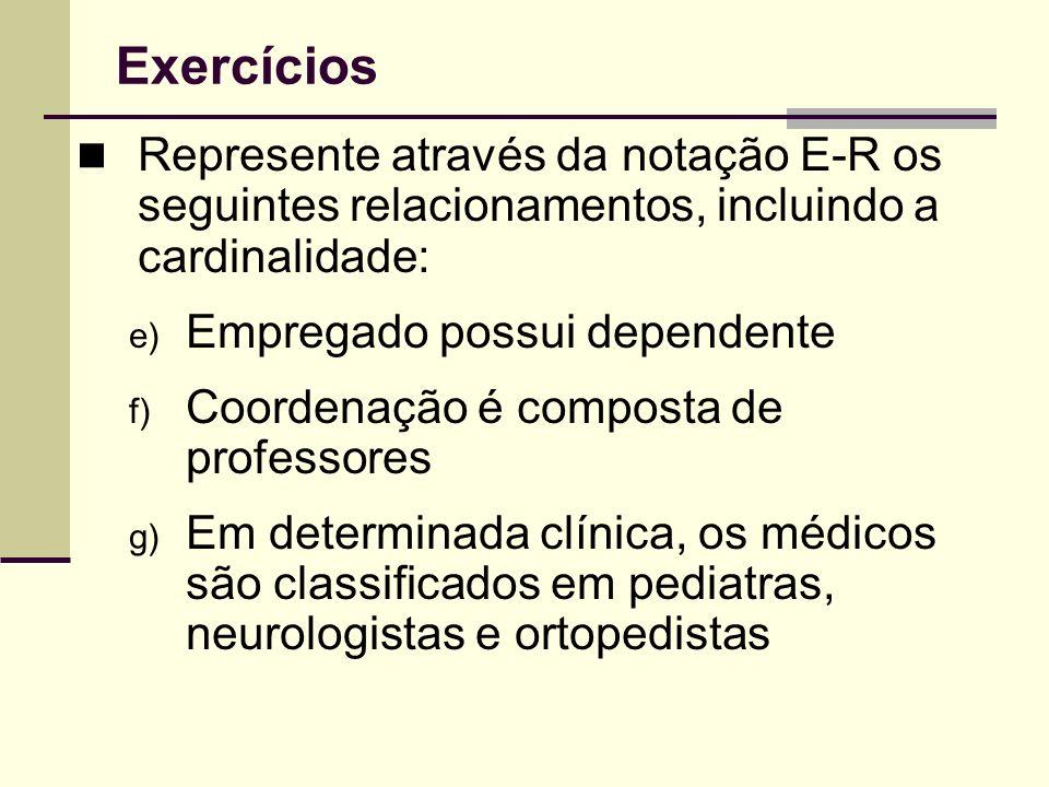 Exercícios Represente através da notação E-R os seguintes relacionamentos, incluindo a cardinalidade: e) Empregado possui dependente f) Coordenação é