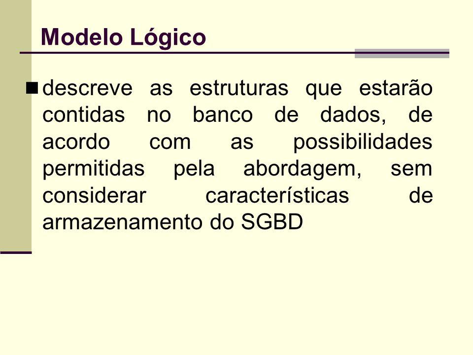 Modelo Lógico descreve as estruturas que estarão contidas no banco de dados, de acordo com as possibilidades permitidas pela abordagem, sem considerar