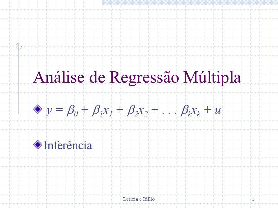 Letícia e Idilio1 Análise de Regressão Múltipla y = 0 + 1 x 1 + 2 x 2 +... k x k + u Inferência