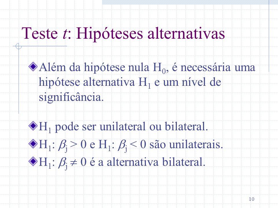 10 Teste t: Hipóteses alternativas Além da hipótese nula H 0, é necessária uma hipótese alternativa H 1 e um nível de significância. H 1 pode ser unil