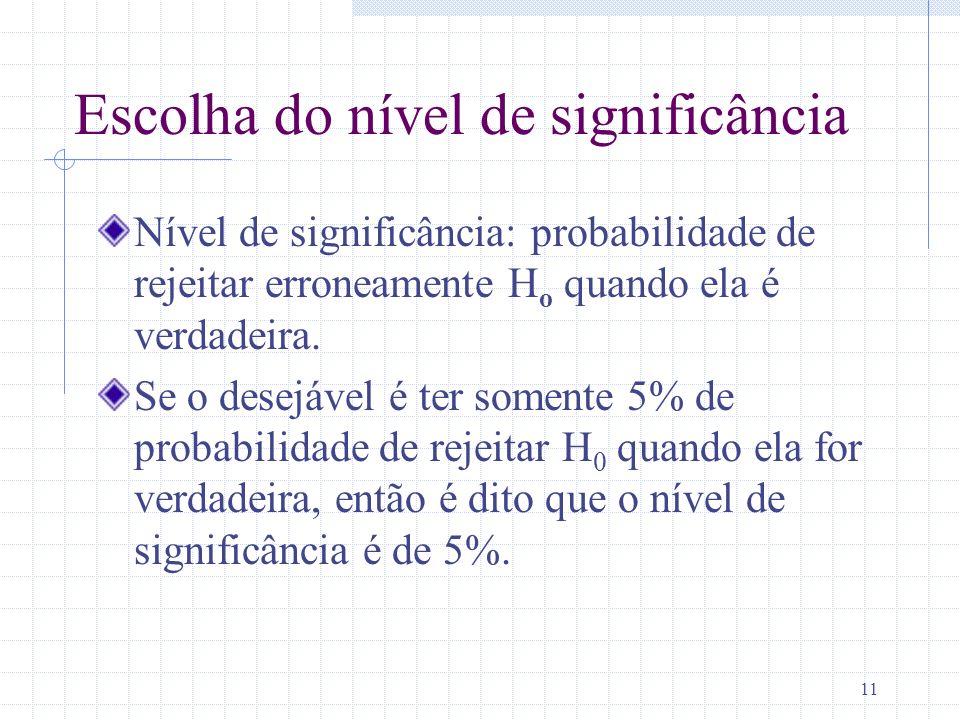 11 Escolha do nível de significância Nível de significância: probabilidade de rejeitar erroneamente H o quando ela é verdadeira. Se o desejável é ter