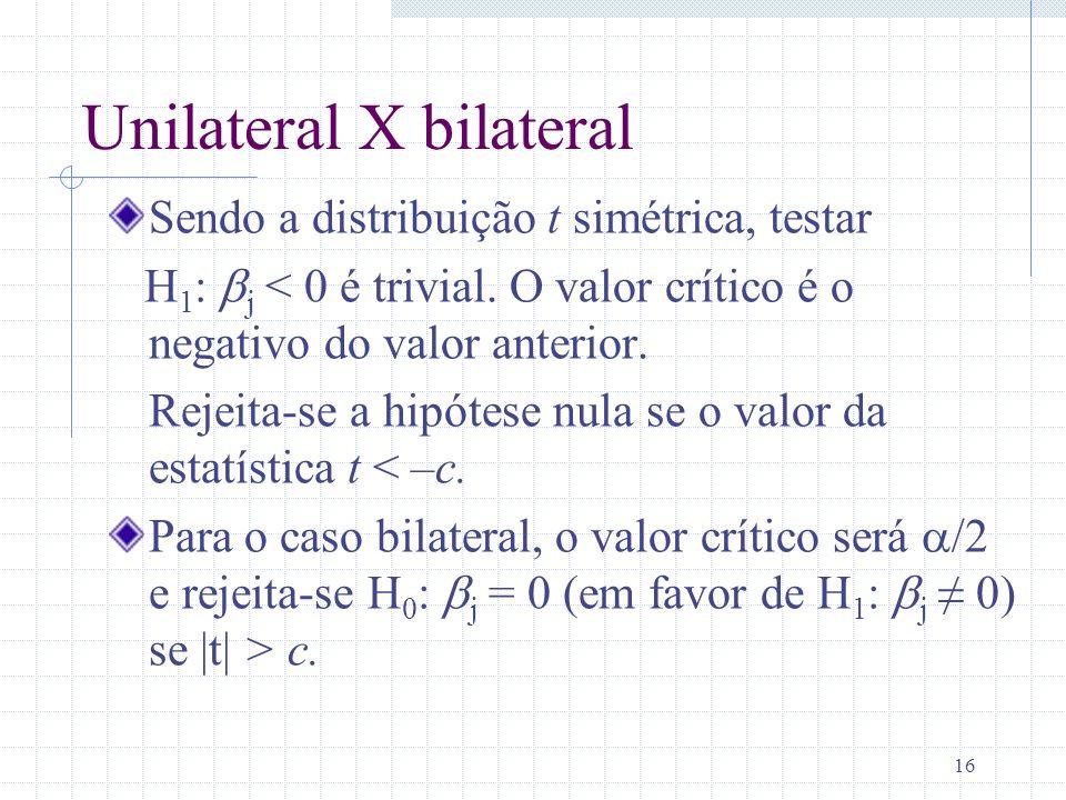 16 Unilateral X bilateral Sendo a distribuição t simétrica, testar H 1 : j < 0 é trivial. O valor crítico é o negativo do valor anterior. Rejeita-se a