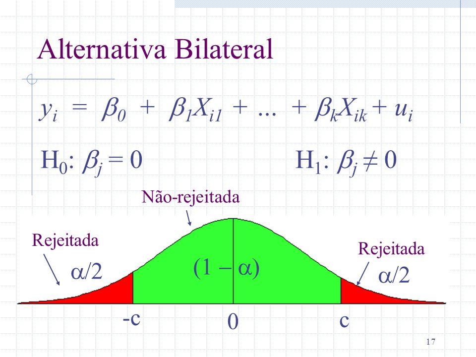 17 y i = 0 + 1 X i1 + … + k X ik + u i H 0 : j = 0 H 1 : j 0 c 0 -c Alternativa Bilateral Rejeitada Não-rejeitada