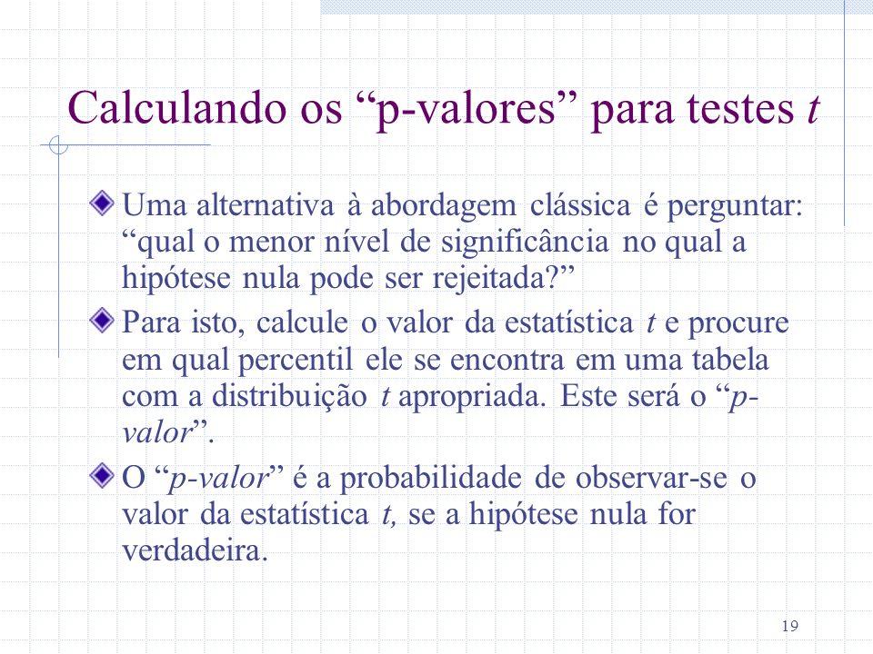 19 Calculando os p-valores para testes t Uma alternativa à abordagem clássica é perguntar: qual o menor nível de significância no qual a hipótese nula