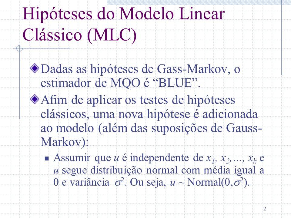 2 Hipóteses do Modelo Linear Clássico (MLC) Dadas as hipóteses de Gass-Markov, o estimador de MQO é BLUE. Afim de aplicar os testes de hipóteses cláss