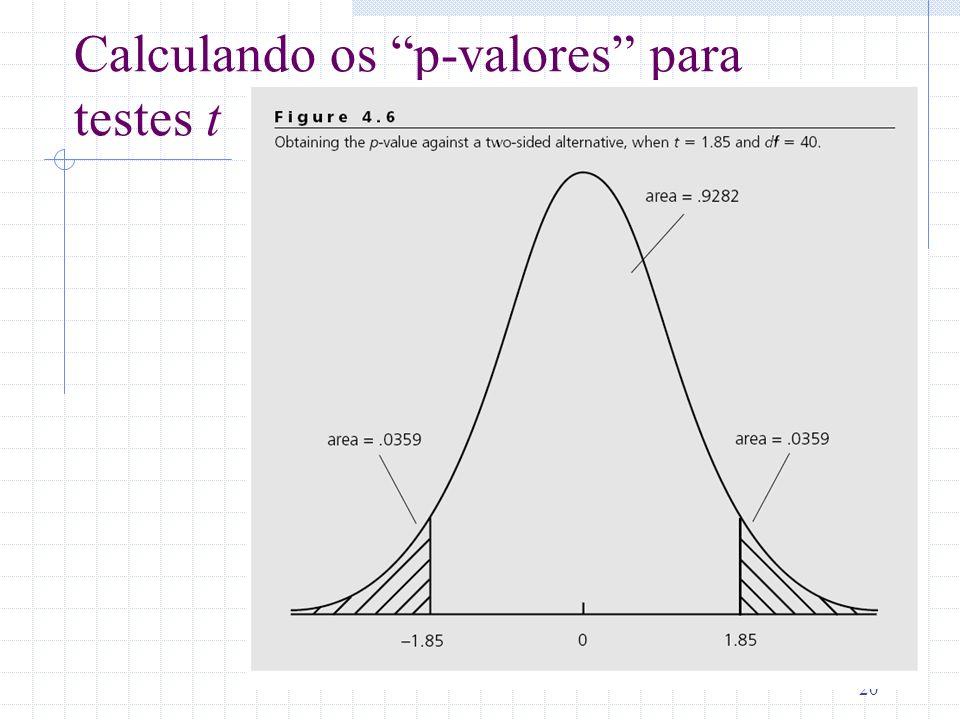20 Calculando os p-valores para testes t