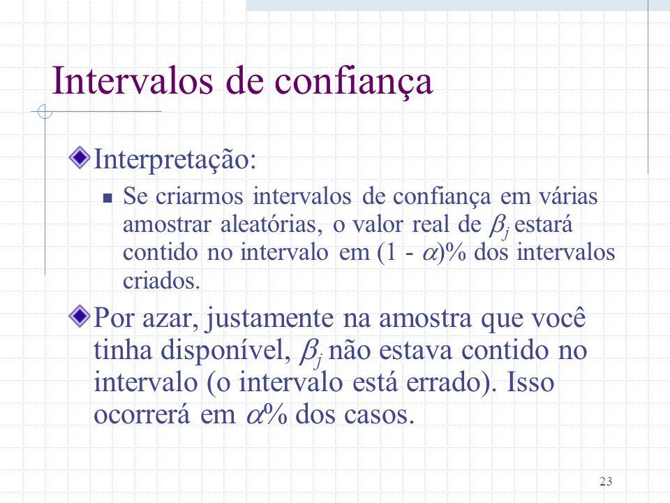 23 Intervalos de confiança Interpretação: Se criarmos intervalos de confiança em várias amostrar aleatórias, o valor real de j estará contido no inter