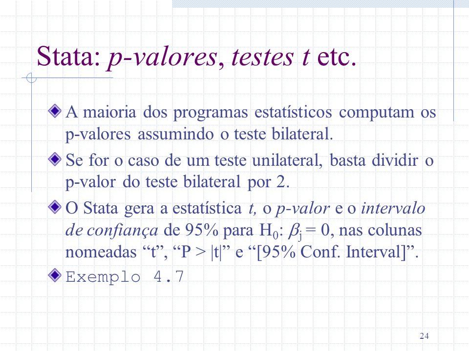 24 Stata: p-valores, testes t etc. A maioria dos programas estatísticos computam os p-valores assumindo o teste bilateral. Se for o caso de um teste u