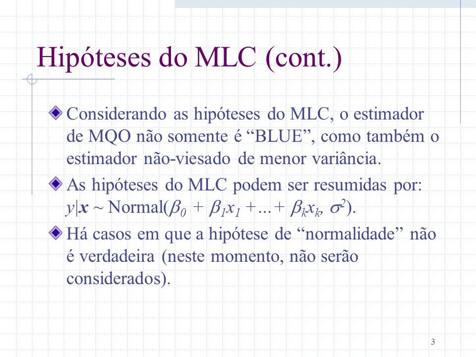 3 Hipóteses do MLC (cont.) Considerando as hipóteses do MLC, o estimador de MQO não somente é BLUE, como também o estimador não-viesado de menor variâ