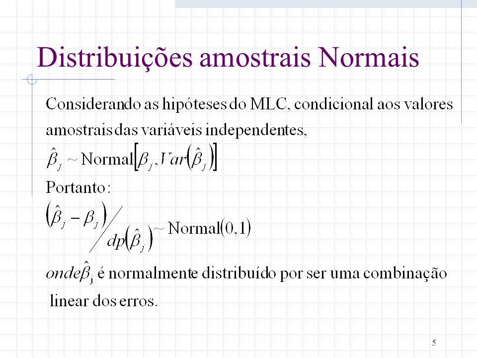 6 Testes de Hipóteses sobre um único parâmetro: Teste t Lembrando, modelo populacional pode ser escrito como: y 0 + 1 x 1 +…+ x k + u A idéia é construir hipóteses sobre o valor de j Utilizar inferência estatística para testar nossa hipótese.