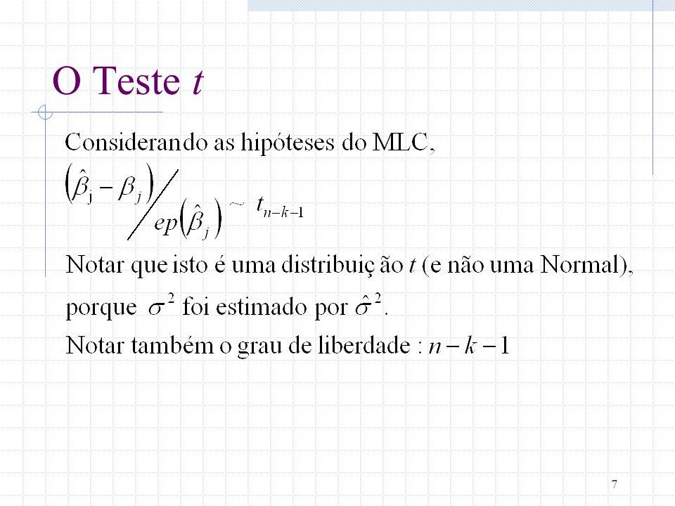 8 O Teste t (cont.) Saber essa distribuição amostral do estimador padrão permite que sejam feitos testes de hipóteses que envolvem j.
