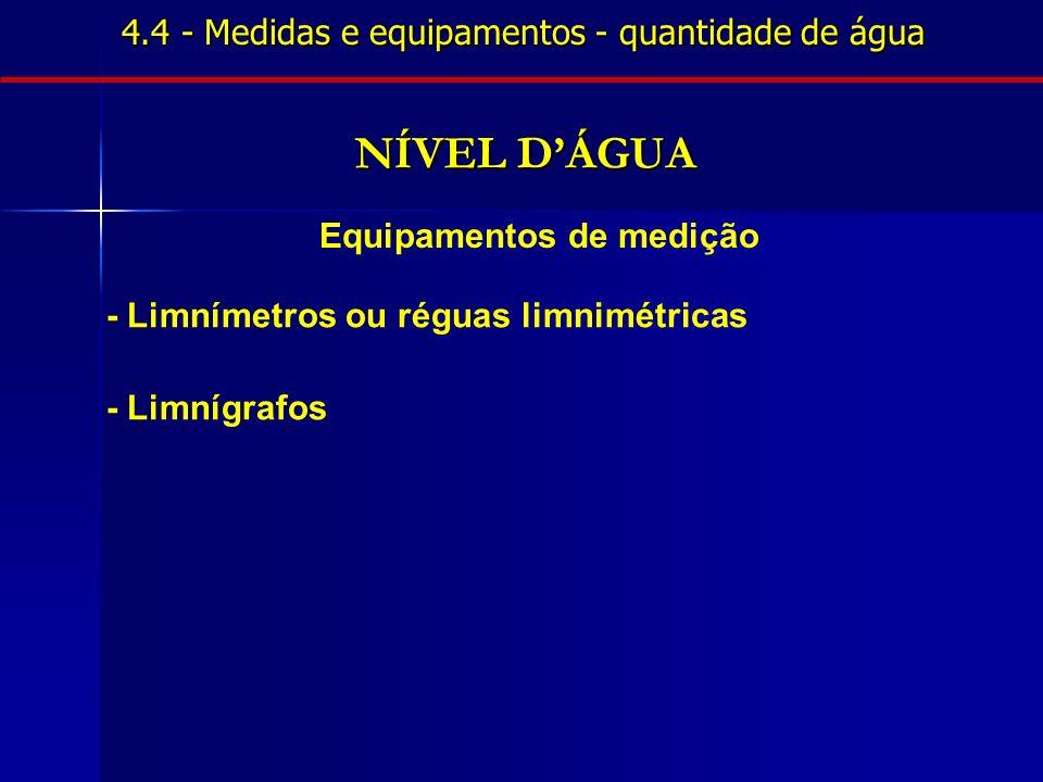4.4 - Medidas e equipamentos - quantidade de água NÍVEL DÁGUA Equipamentos de medição - Limnímetros ou réguas limnimétricas - Limnígrafos