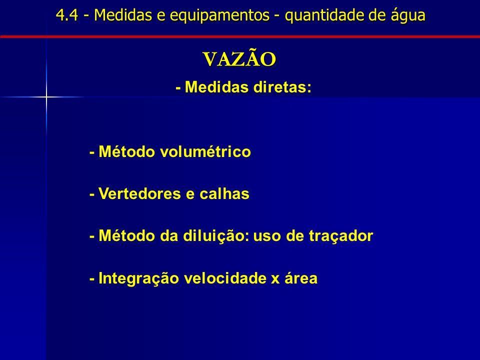 4.4 - Medidas e equipamentos - quantidade de água VAZÃO - Medidas diretas: - Método volumétrico - Vertedores e calhas - Método da diluição: uso de tra