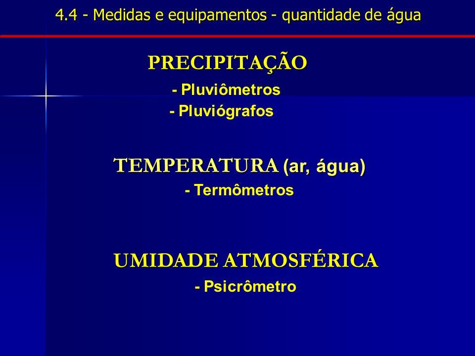 4.4 - Medidas e equipamentos - quantidade de água PRECIPITAÇÃO - Pluviômetros - Pluviógrafos TEMPERATURA (ar, água) - Termômetros UMIDADE ATMOSFÉRICA