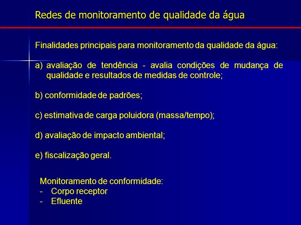 Finalidades principais para monitoramento da qualidade da água: a)avaliação de tendência - avalia condições de mudança de qualidade e resultados de me