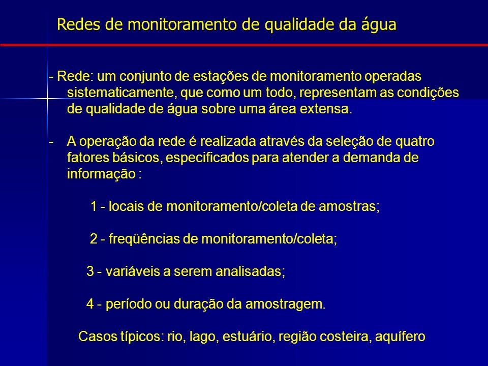 Redes de monitoramento de qualidade da água - Rede: um conjunto de estações de monitoramento operadas sistematicamente, que como um todo, representam