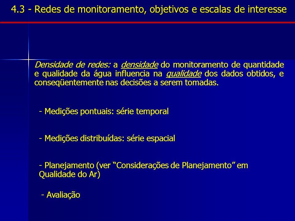 4.3 - Redes de monitoramento, objetivos e escalas de interesse - Medições pontuais: série temporal - Medições distribuídas: série espacial - Planejame