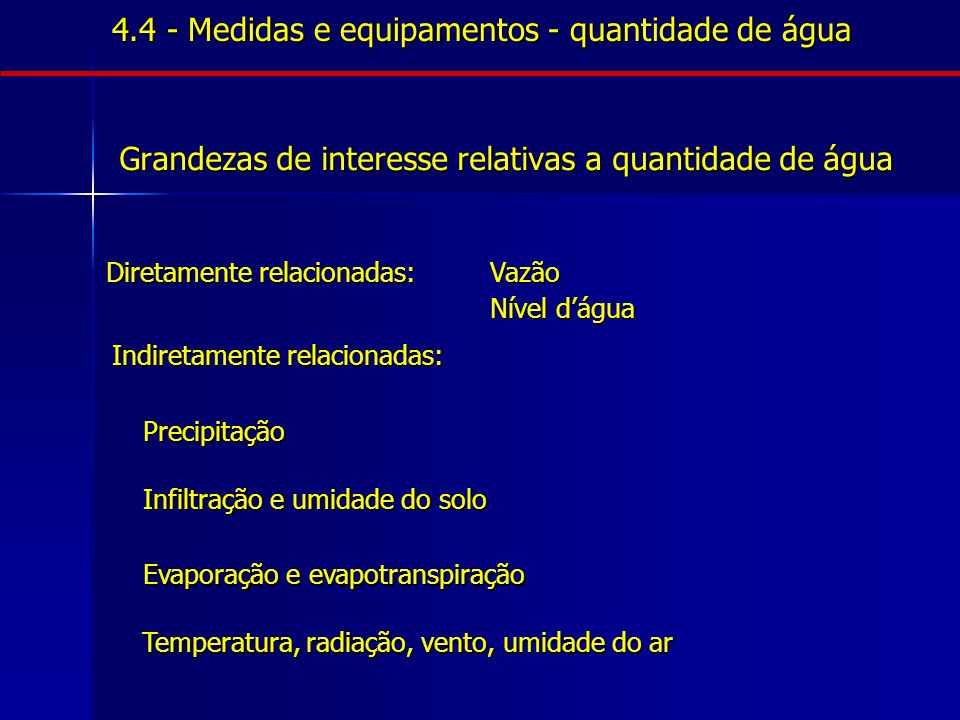 CARACTERÍSTICAS FÍSICAS - Cor (< 0,001 mm) - Turbidez (> 0,001 mm) - Temperatura - Odor - Sólidos (dissolvidos, suspensos) - OD (Oxigênio Dissolvido) - Condutividade (salinidade) - Radioatividade