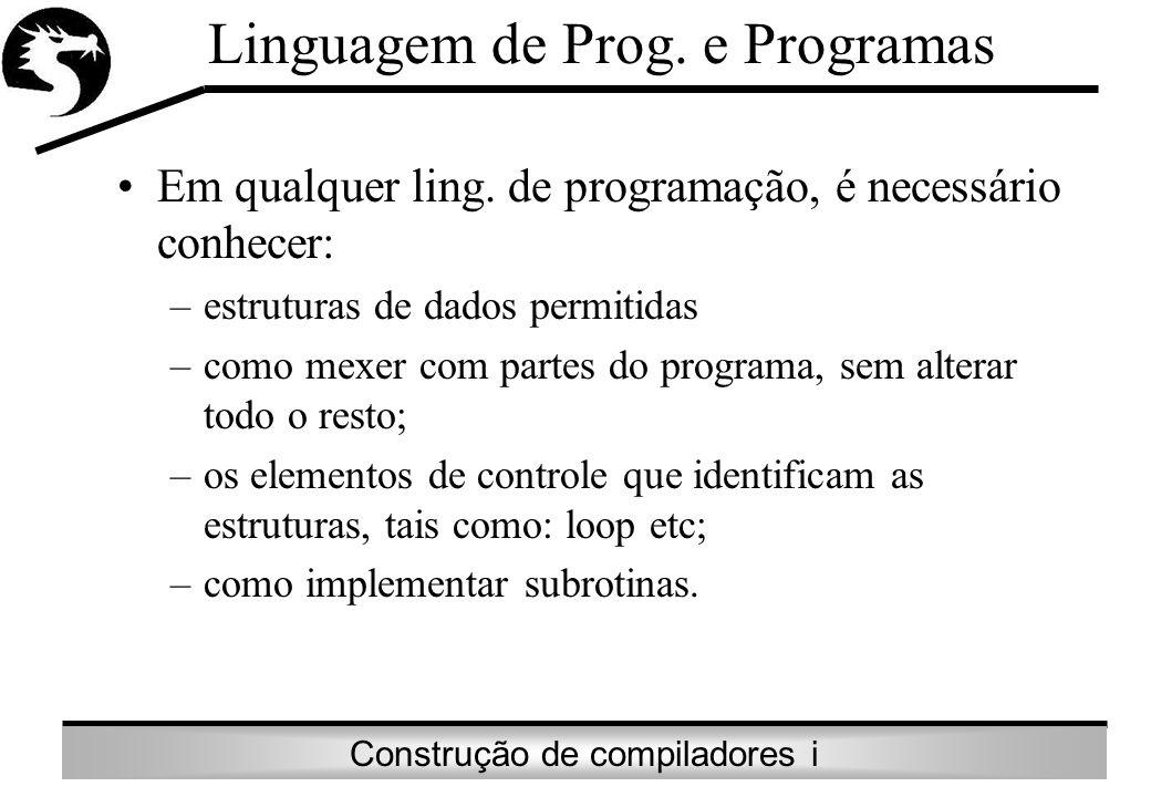 Construção de compiladores i Linguagem de Prog. e Programas Em qualquer ling. de programação, é necessário conhecer: –estruturas de dados permitidas –