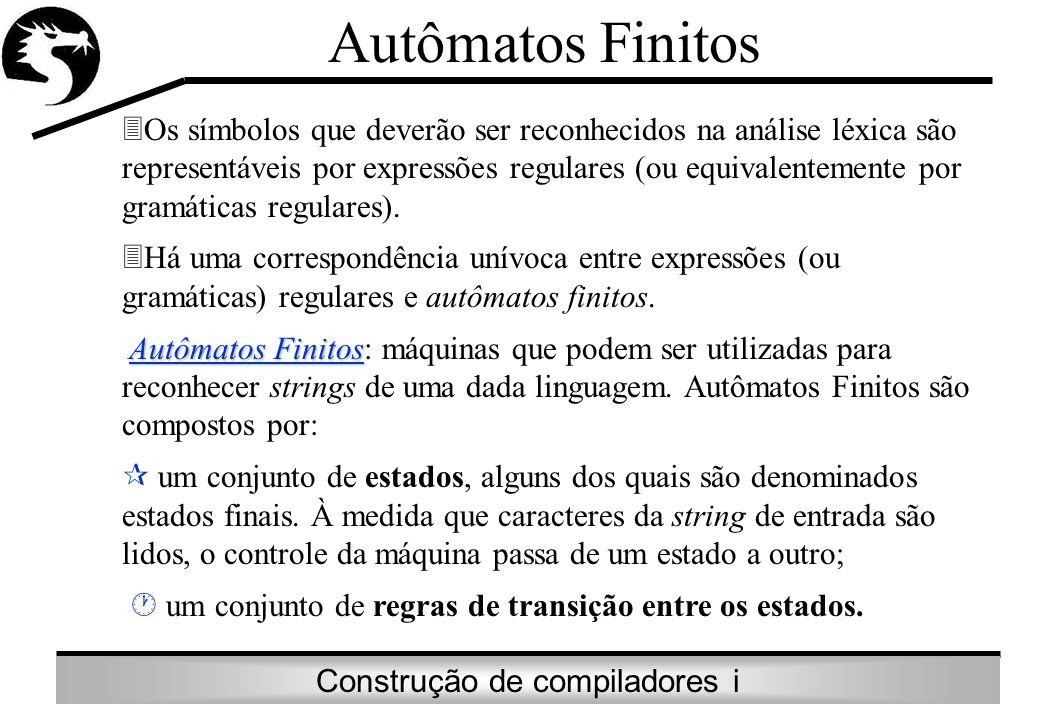Construção de compiladores i Autômatos Finitos Os símbolos que deverão ser reconhecidos na análise léxica são representáveis por expressões regulares