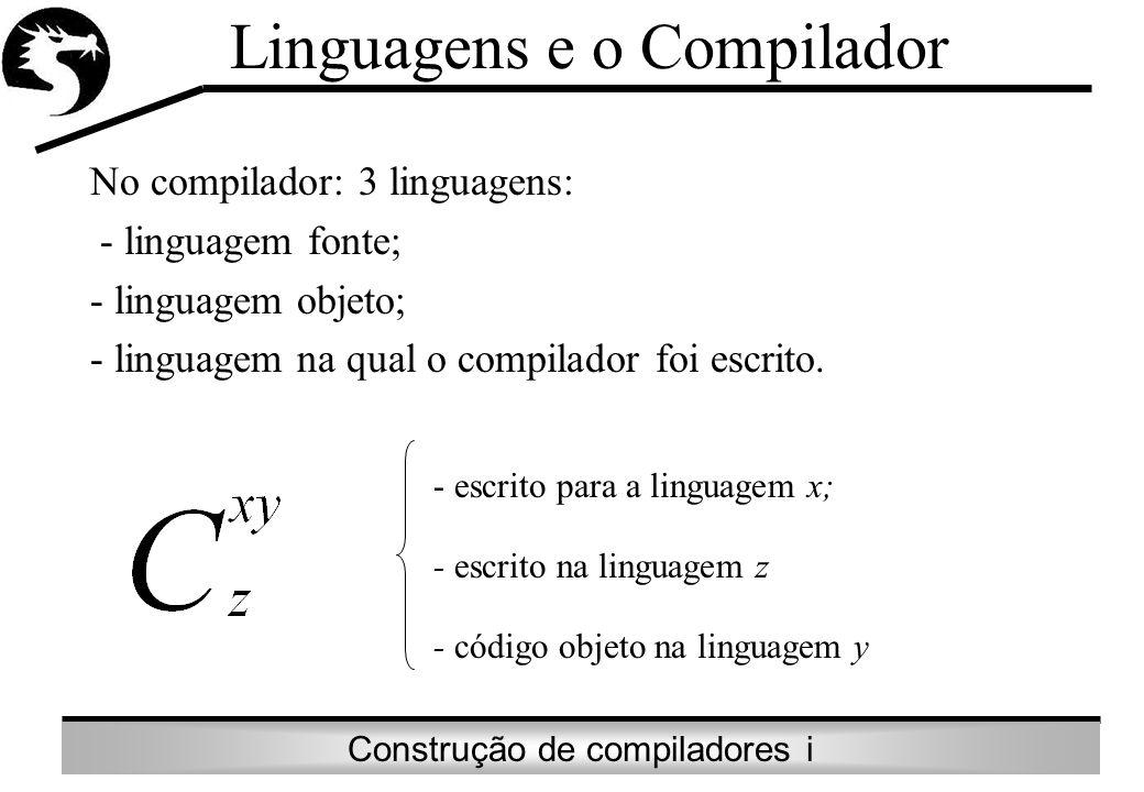 Construção de compiladores i No compilador: 3 linguagens: - linguagem fonte; - linguagem objeto; - linguagem na qual o compilador foi escrito. Linguag