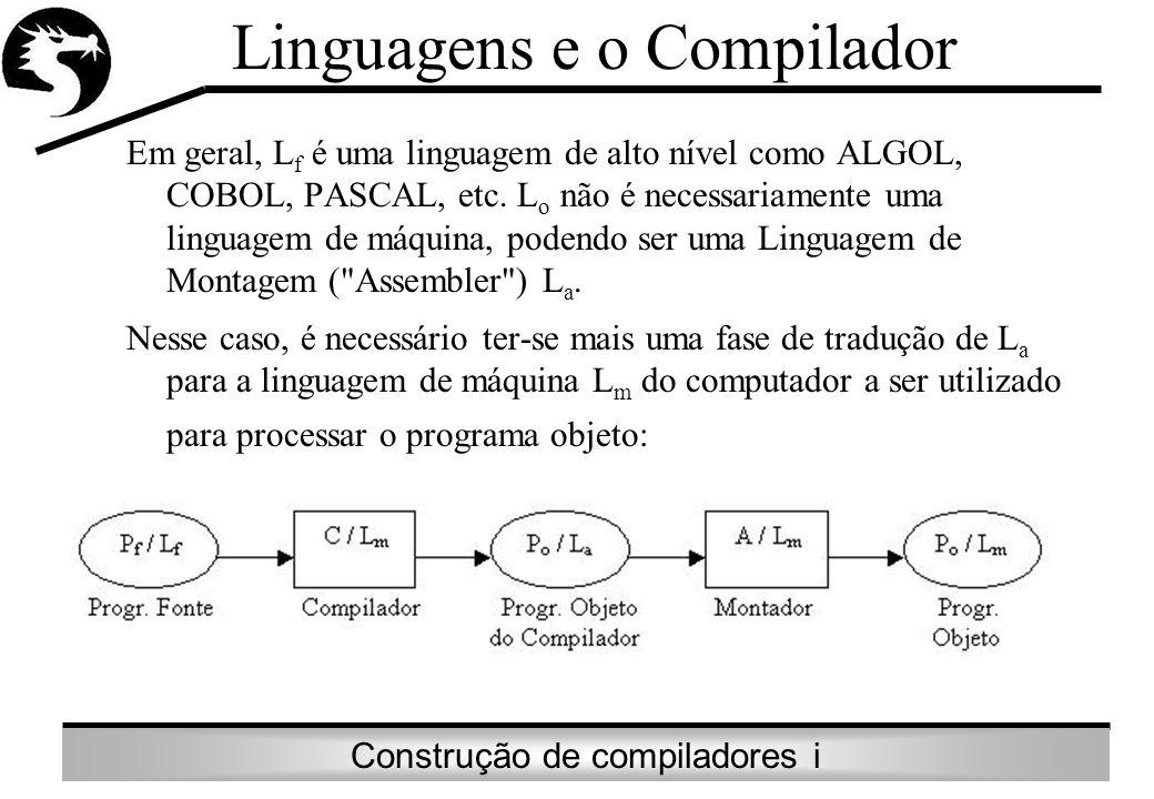 Construção de compiladores i Em geral, L f é uma linguagem de alto nível como ALGOL, COBOL, PASCAL, etc. L o não é necessariamente uma linguagem de má