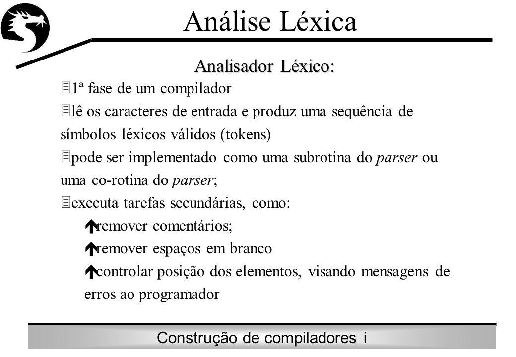 Construção de compiladores i Análise Léxica Analisador Léxico: 31ª fase de um compilador 3lê os caracteres de entrada e produz uma sequência de símbol