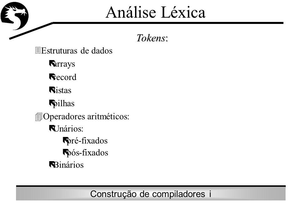 Construção de compiladores i Análise Léxica Tokens: 3Estruturas de dados ëarrays ërecord ëlistas ëpilhas 4Operadores aritméticos: ëUnários: ëpré-fixad