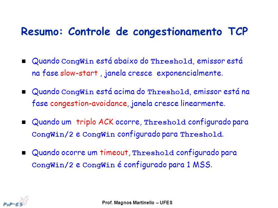 Prof. Magnos Martinello – UFES Resumo: Controle de congestionamento TCP Quando CongWin está abaixo do Threshold, emissor está na fase slow-start, jane