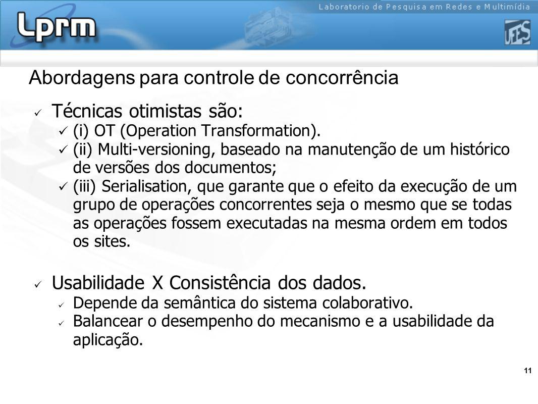 11 Abordagens para controle de concorrência Técnicas otimistas são: (i) OT (Operation Transformation). (ii) Multi-versioning, baseado na manutenção de