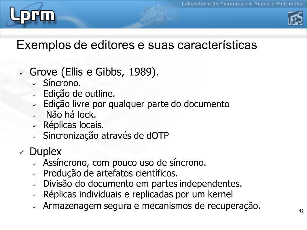 12 Exemplos de editores e suas características Grove (Ellis e Gibbs, 1989). Síncrono. Edição de outline. Edição livre por qualquer parte do documento