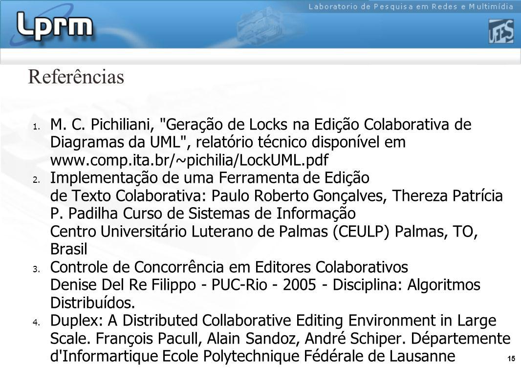 15 Referências 1. M. C. Pichiliani,