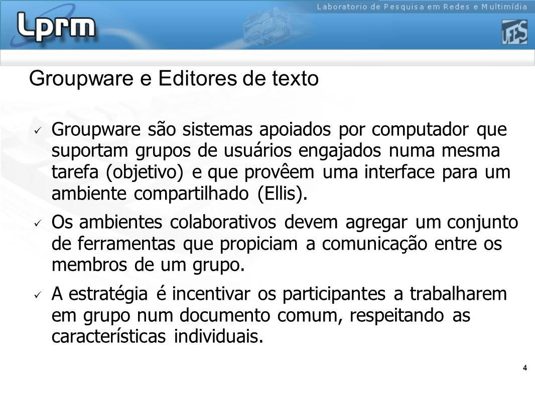 4 Groupware e Editores de texto Groupware são sistemas apoiados por computador que suportam grupos de usuários engajados numa mesma tarefa (objetivo)