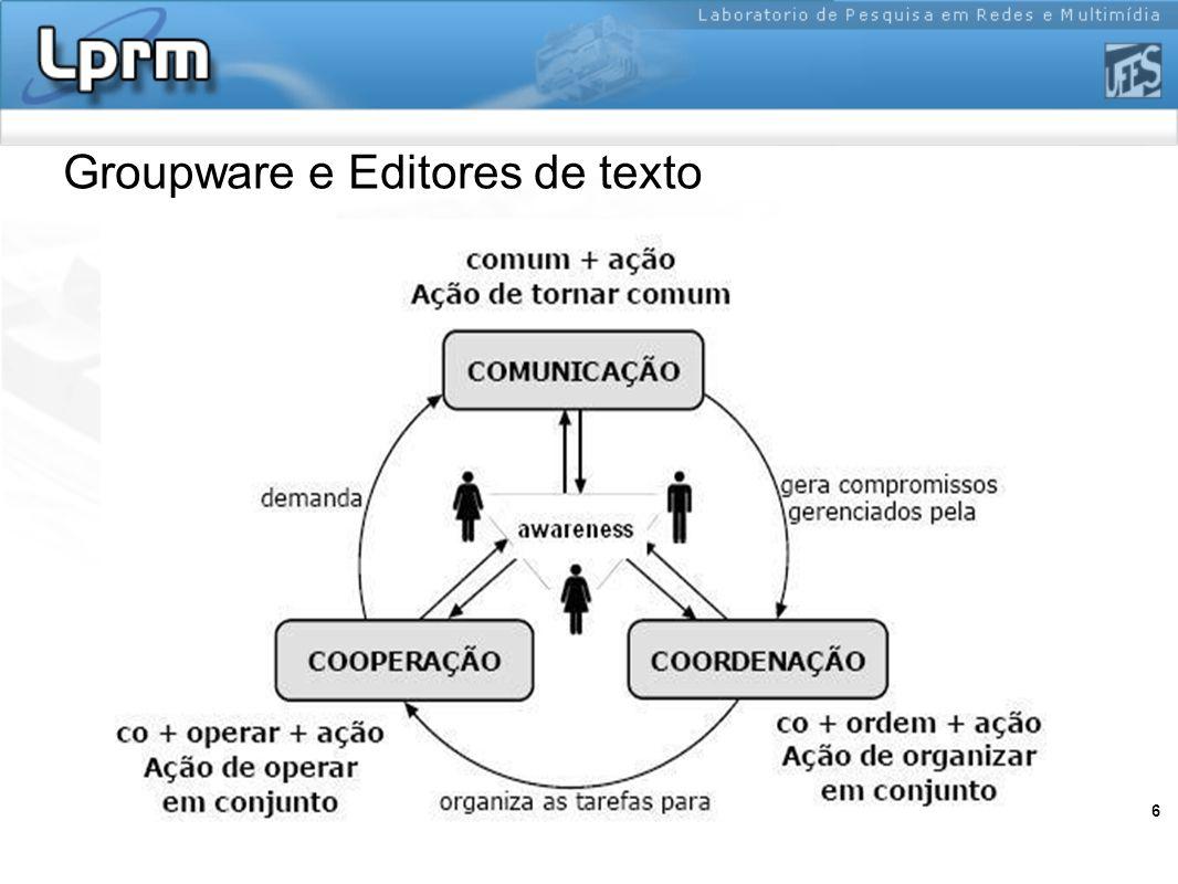 7 Características de ferramentas para edição colaborativa Compartilhamento Controle de Concorrência Controle de Versão Visualização WYSIWIS strict WYSIWIS relaxed