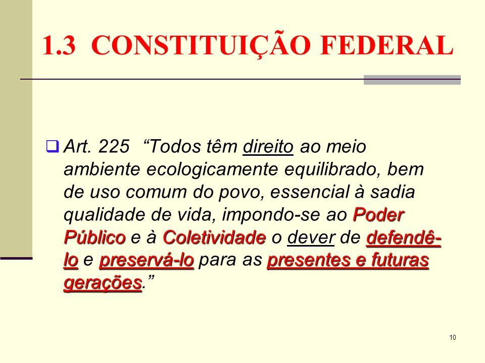 10 1.3 CONSTITUIÇÃO FEDERAL direito Poder PúblicoColetividadedeverdefendê- lopreservá-lopresentes e futuras gerações Art. 225Todos têm direito ao meio