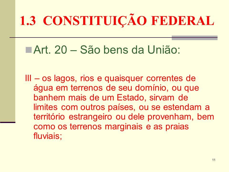 11 1.3 CONSTITUIÇÃO FEDERAL Art. 20 – São bens da União: III – os lagos, rios e quaisquer correntes de água em terrenos de seu domínio, ou que banhem